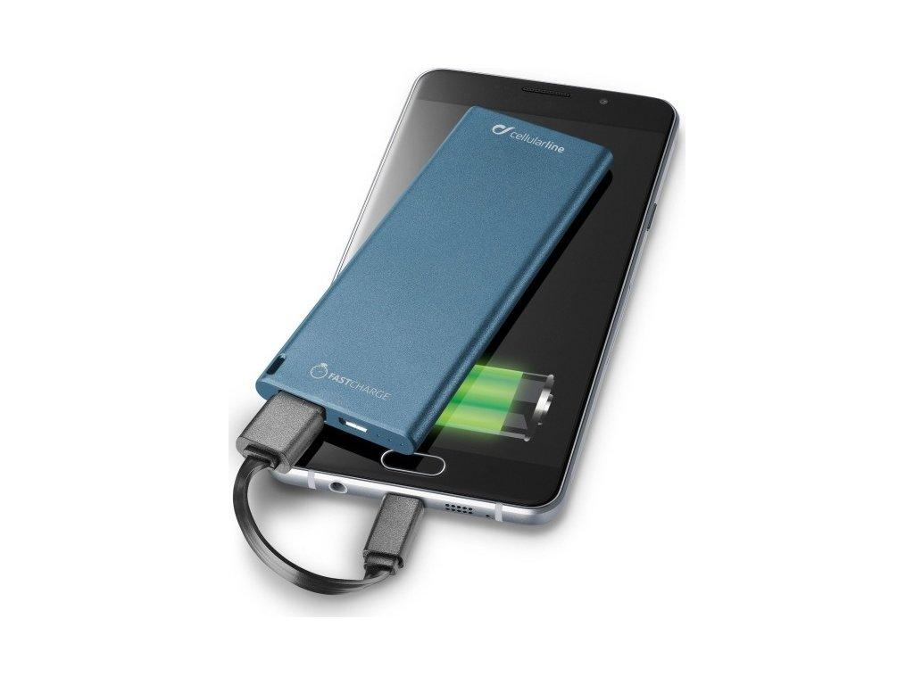 Ultratenká powerbanka CellularLine FREEPOWER SLIM s USB-C konektorem, 3000mAh, modrá