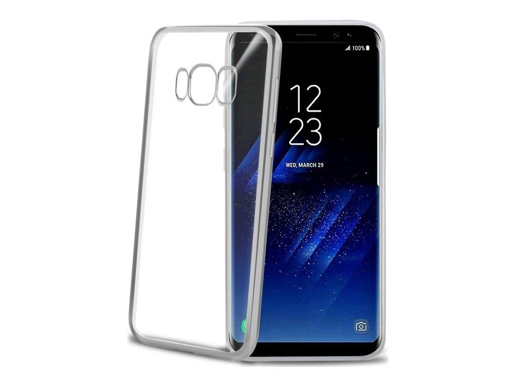 TPU pouzdro CELLY Laser - lemování s kovovým efektem pro Samsung Galaxy S8 Plus, stříbrné