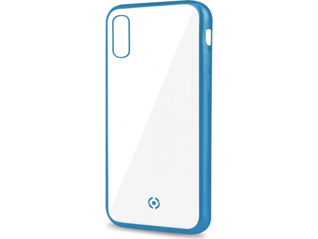 TPU pouzdro CELLY Laser - lemování s matným kovovým efektem pro Apple iPhone XS Max, modré