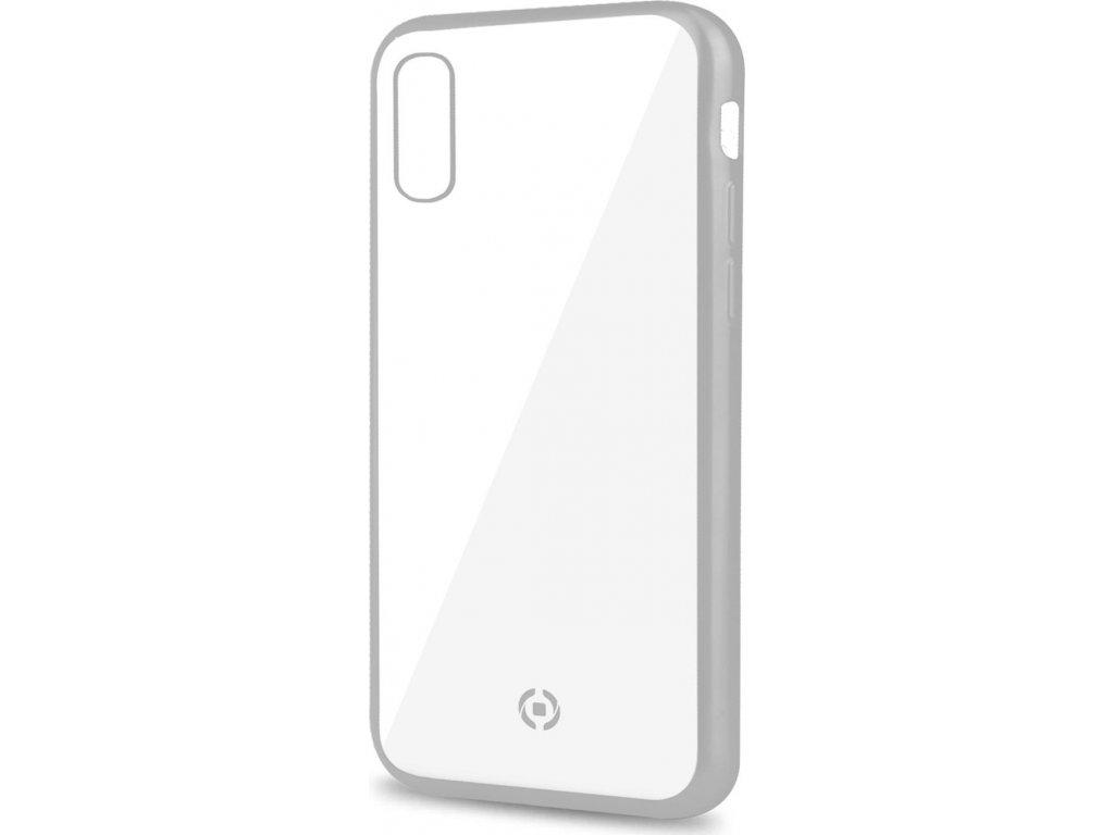 TPU pouzdro CELLY Laser - lemování s matným kovovým efektem pro Apple iPhone XS Max, stříbrné