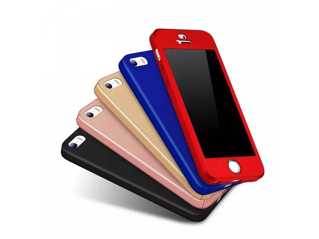 Kryt Clearo Luxury Defender 360 + tvrzené sklo na displej pro iPhone 5/5S/SE (Barva Zlatý)