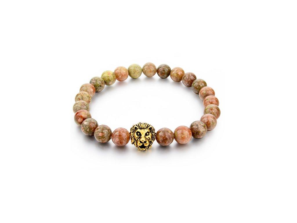 2294 naramek z prirodnich kamenu clearo luxury bracelet lion brown gold