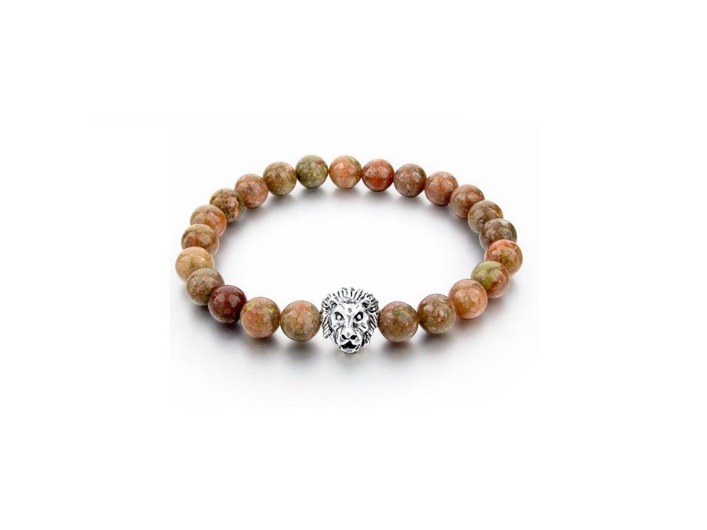 2300 naramek z prirodnich kamenu clearo luxury bracelet lion brown silver