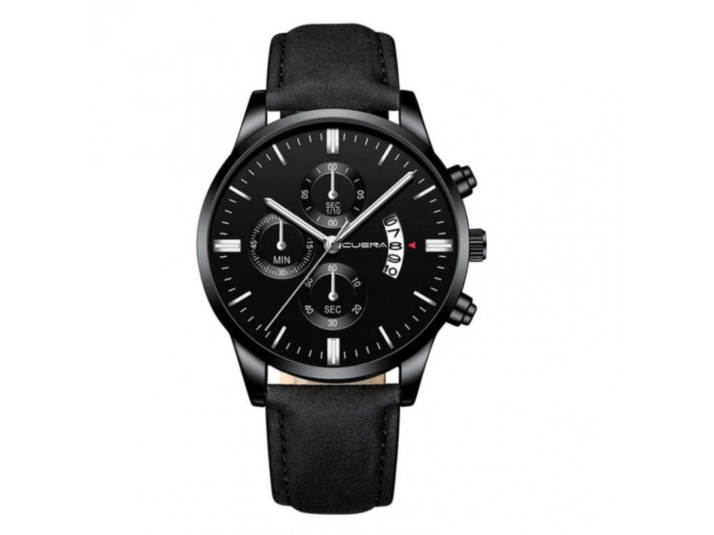 hodinky panske cerne s cernym reminkem detail 2