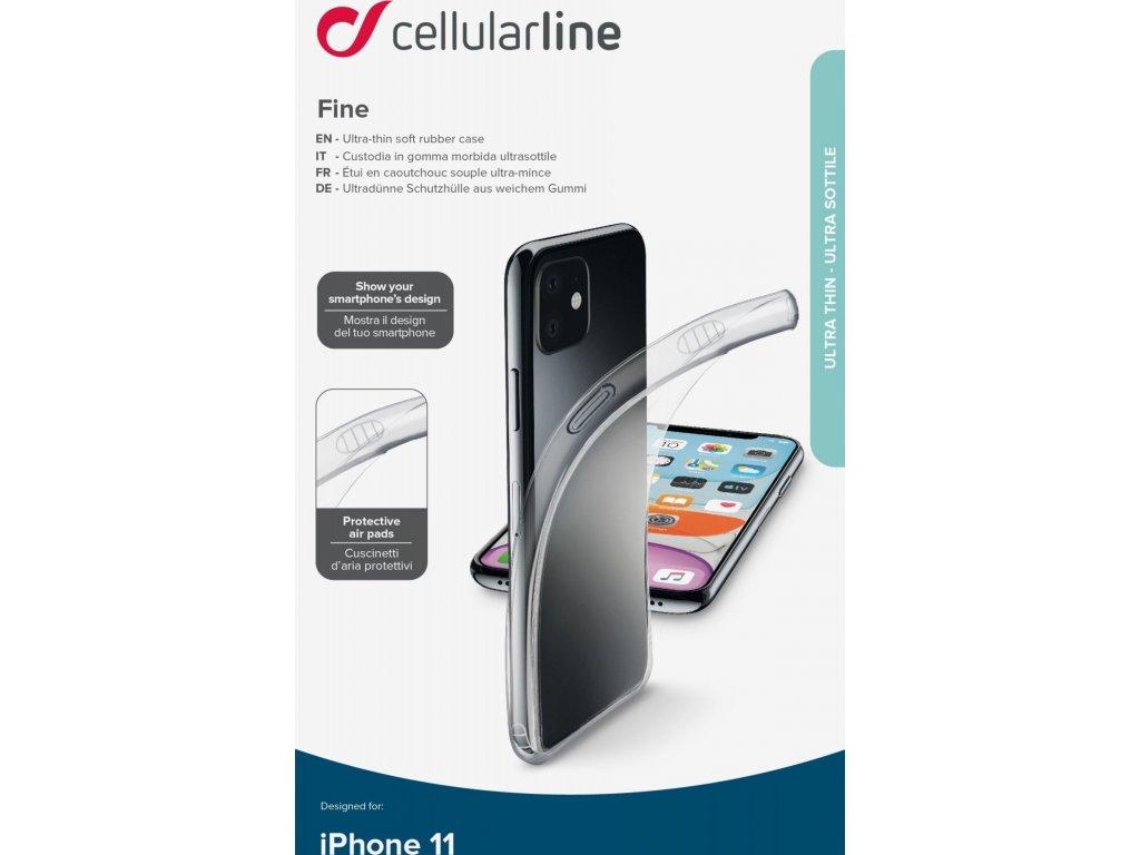 Extratenký zadní kryt CellularLine Fine pro Apple iPhone 11, transparentní