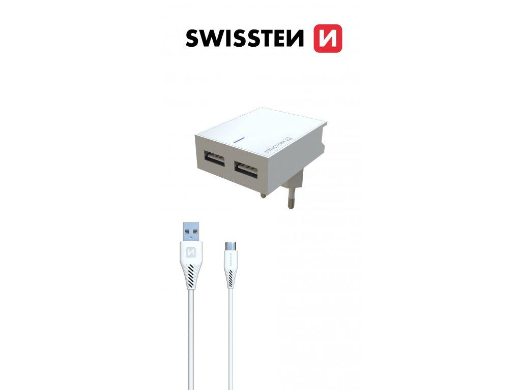 SWISSTEN SÍŤOVÝ ADAPTÉR SMART IC 2x USB 3A POWER + DATOVÝ KABEL USB / LIGHTNING 1,2 M BÍLÝ 2