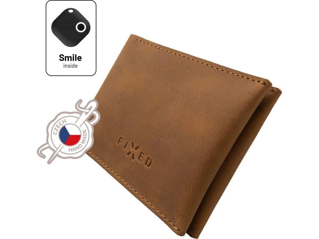 Kožená peněženka Smile Wallet se smart trackerem FIXED Smile s motion senzorem, hnědá