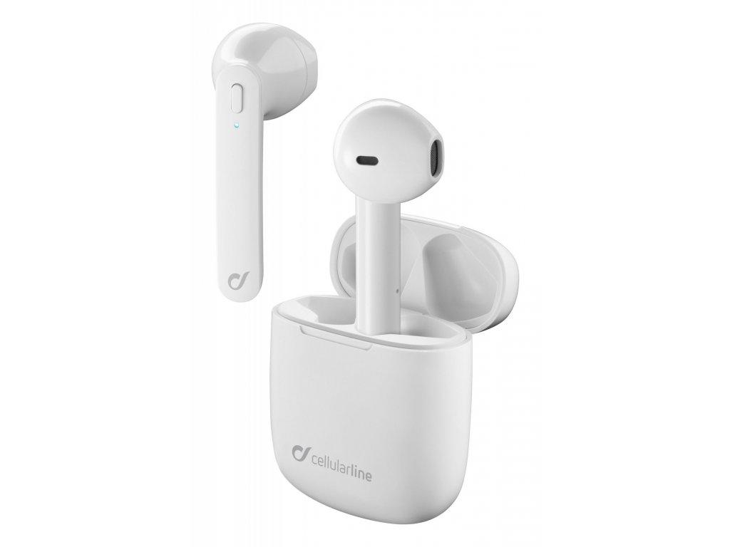 True wireless sluchátka Cellularline Aries s dobíjecím pouzdrem, Double master technologie, bílá