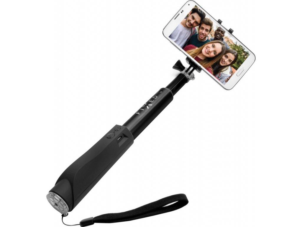 Teleskopický selfie stick FIXED v luxusním hliníkovém provedení s BT spouští, černý