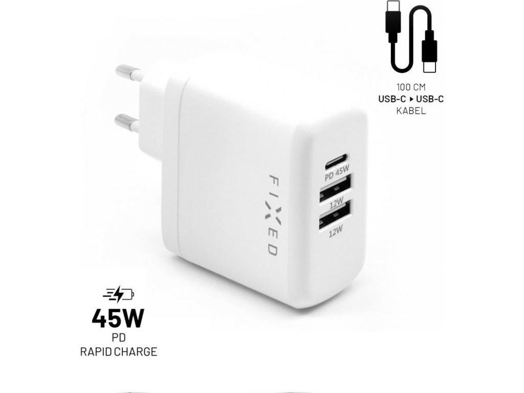 Set síťové nabíječky FIXED s USB-C a 2xUSB výstupem a USB-C/USB-C kabelu, podpora PD, 45W, bílý