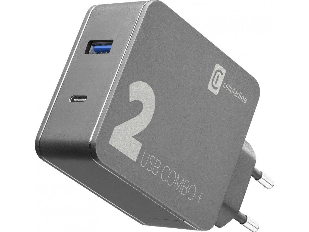Set síťové nabíječky a USB-C kabelu Cellularline Multipower 2 Combo Plus pro notebooky i smartphony, PD 48W, černý