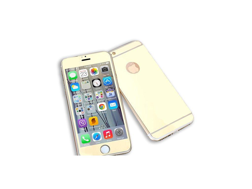Zrcadlové tvrzené sklo Mirrori (přední + zadní) pro iPhone 7/8 (Barva Zlatý)