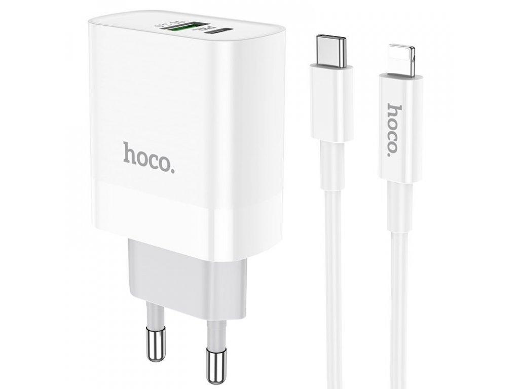 Rychlonabíječka Hoco C80A PD20W/QC3.0 + Lightning kabel pro iPhone, White