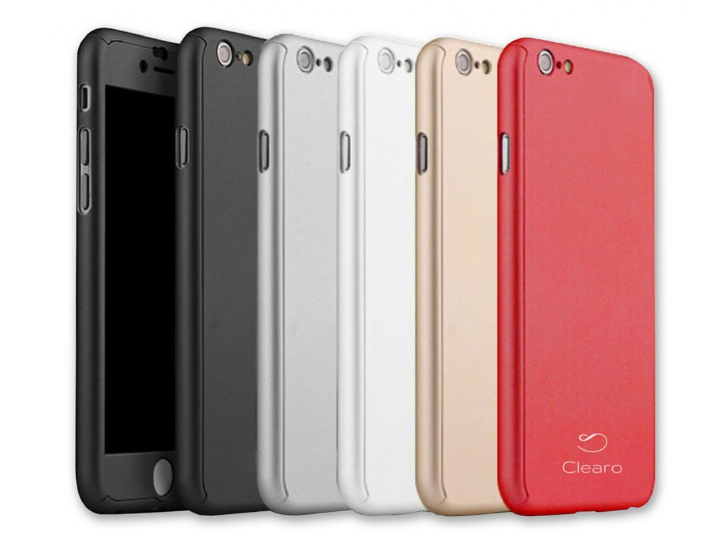 Kryt Clearo Luxury Defender 360 + tvrzené sklo na displej pro iPhone 6/6s (Barva Zlatý)
