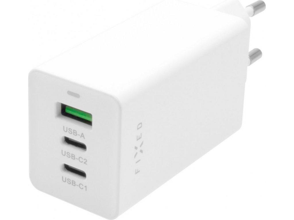 Síťová GaN nabíječka FIXED s 2xUSB-C a USB výstupem, podpora PD, 65W, bílá
