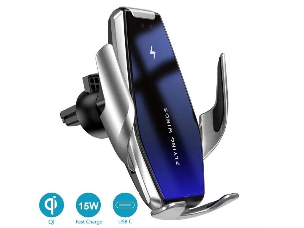 automaticky drzak bezdotykovy S7 clearo pro iphone a samsung 15w bezdratove nabijeni