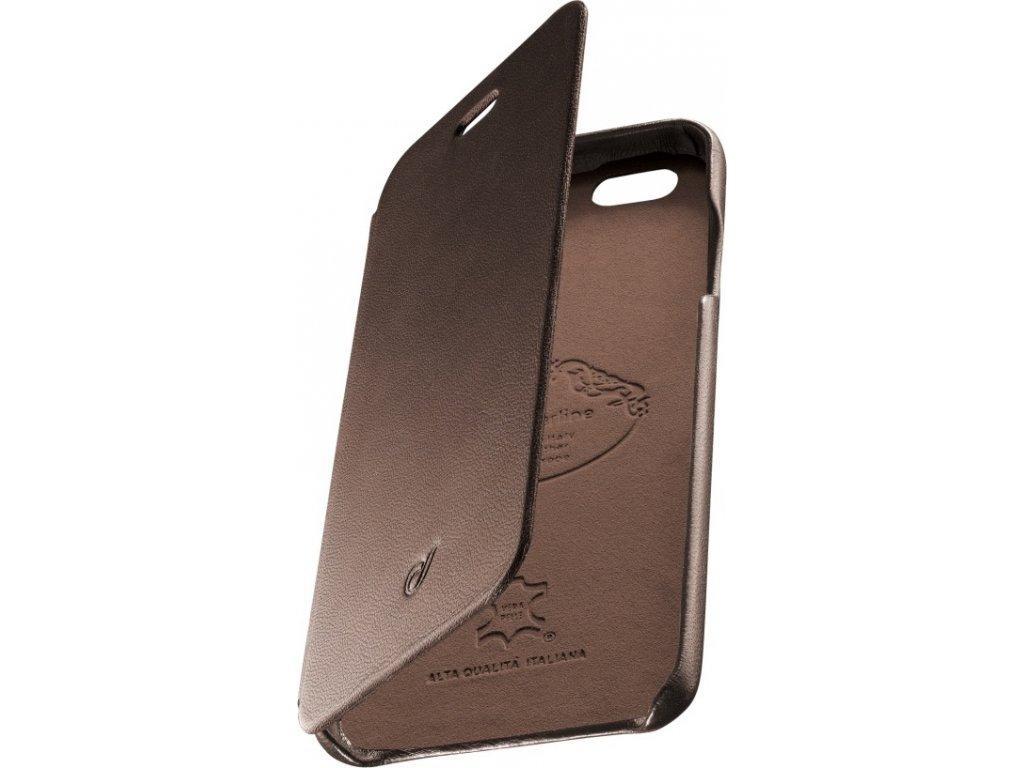 Luxusní pouzdro typu kniha CellularLine SUITE pro Apple iPhone 6/6S, pravá kůže, hnědé