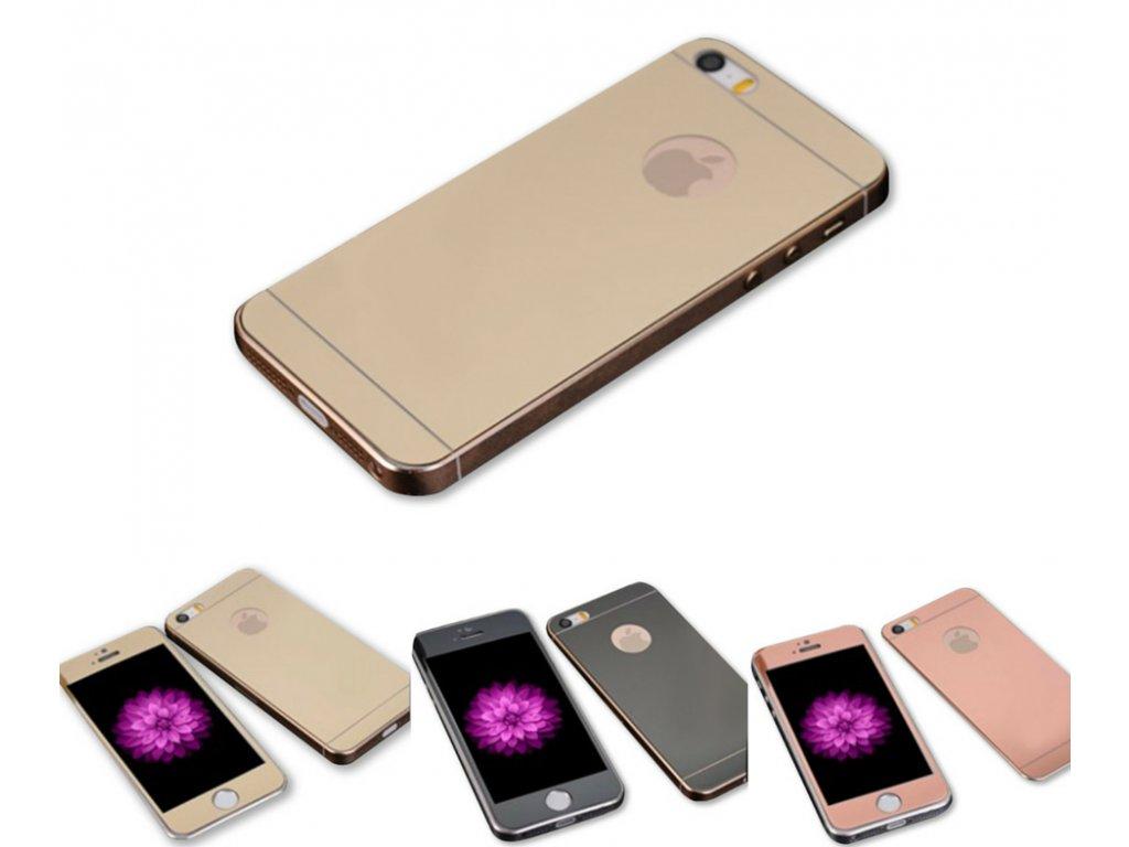 Zrcadlové tvrzené sklo Mirrori (přední + zadní) pro iPhone 5/5S/SE (Barva Zlatý)