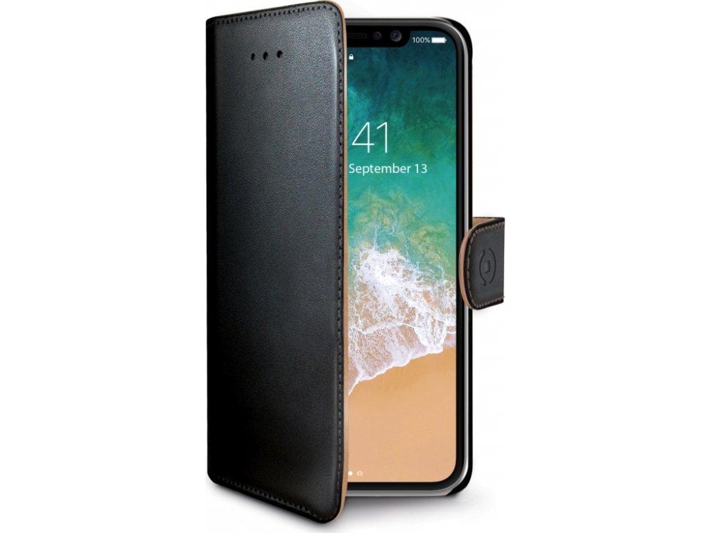 Pouzdro typu kniha CELLY Wally pro Apple iPhone X/XS, PU kůže, černé
