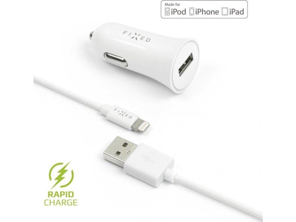 Set autonabíječky FIXED s USB výstupem a USB/Lightning kabelu, 1 metr, MFI certifikace, 12W, bílá