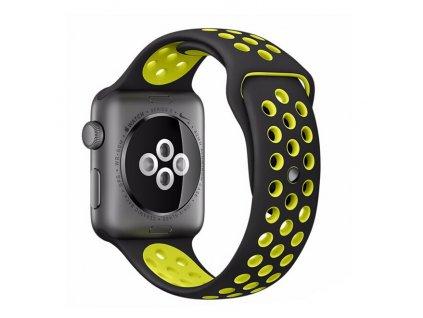 Clearo Sport Silikonový řemínek : pásek pro Apple Watch 42mm – černo žlutý main2