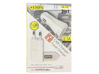 Nabíjecí set 3v1 – mini usb adaptér, Lightning kabel, autoadaptér pro Apple iPhone