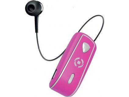 Bluetooth headset CELLY SNAIL s klipem a navijákem kabelu, růžový