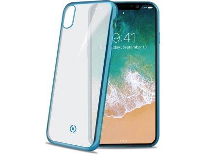 TPU pouzdro CELLY Laser - lemování s matným kovovým efektem pro Apple iPhone X/XS, světle modré