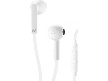 In-ear sluchátka CELLULARLINE LOUD UP s dálkovým ovládáním a mikrofonem, AQL® certifikace, 3,5 mm jack, bílé