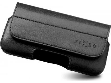 Horizontální pouzdro FIXED Sarif se zavíráním, PU kůže, velikost XL+, černé
