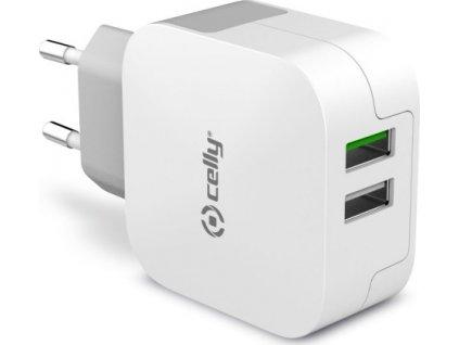 Cestovní nabíječka CELLY TURBO s 2 x USB výstupem, 3,4 A