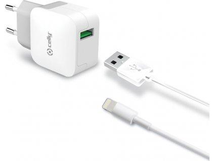 Set CELLY Turbo cestovní USB nabíječky a Lightning kabelu, 2,4 A, bílá