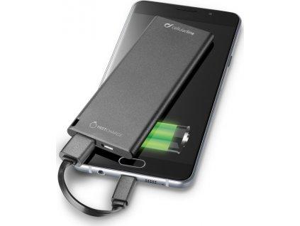 Ultratenká powerbanka CellularLine FREEPOWER SLIM s USB-C konektorem, 3000mAh, černá