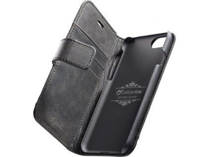 Prémiové kožené pouzdro typu kniha Cellularline Supreme pro Apple iPhone 7/8/SE (2020), černé