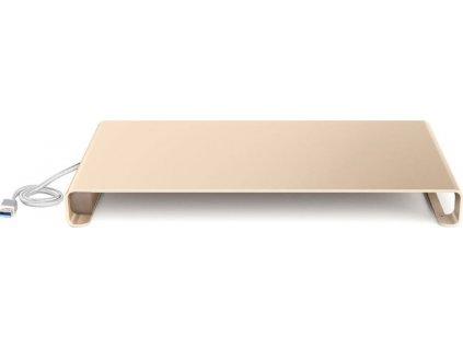 Univerzální hliníkový podstavec pod monitor Desire2, s USB portem, zlatý