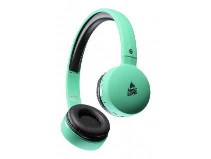 Bluetooth sluchátka MUSIC SOUND s hlavovým mostem a mikrofonem, tyrkysová