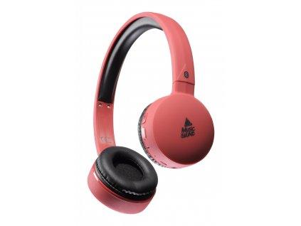 20090 bluetooth sluchatka music sound s hlavovym mostem a mikrofonem cervena