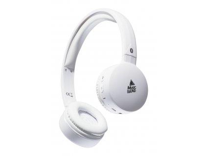 Bluetooth sluchátka MUSIC SOUND s hlavovým mostem a mikrofonem, bílá