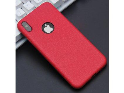Kryt FLOVEME TPU Leather se vzorem kůže pro iPhone 6/6S, červený