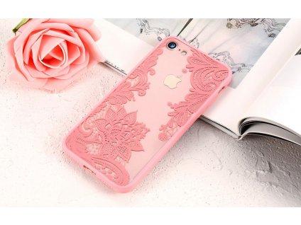 Luxusní kryt KISSCASE pro iPhone 5/5S/SE - Flower, růžový