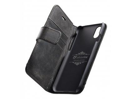 Prémiové kožené pouzdro typu kniha Cellularline Supreme pro Apple iPhone XR, černé