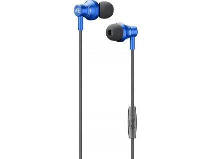 In-ear sluchátka Cellularline IRON s kovovou konstrukcí, AQL® certifikace, 3,5 mm jack, modrá