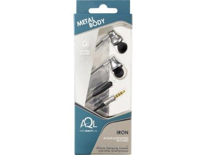 In-ear sluchátka Cellularline IRON s kovovou konstrukcí, AQL® certifikace, 3,5 mm jack, šedá