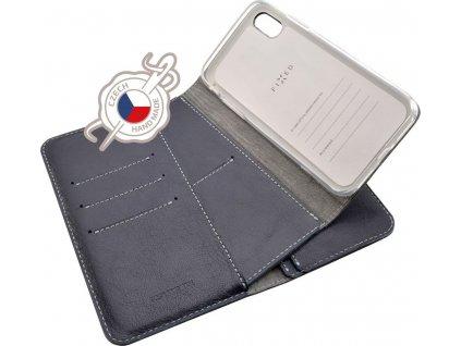 Kožené pouzdro FIXED Double Book pro Apple iPhone X/XS, modré