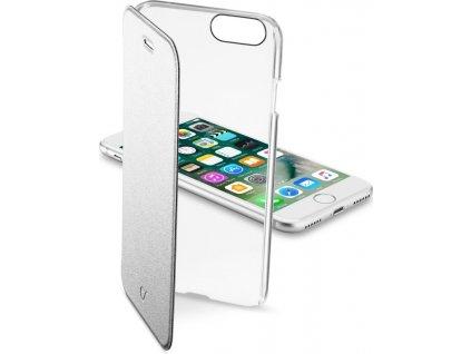 Průhledné pouzdro typu kniha CellularLine Clear Book pro Apple iPhone 7/8, stříbrné
