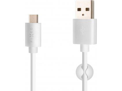 Dlouhý datový a nabíjecí kabel FIXED s konektory USB/USB-C, USB 2.0, 2 metry, 20W, bílý
