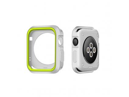 Set Clearo Sport Silikonový řemínek / pásek + Pouzdro pro Apple Watch 38mm – šedo-žlutý 2