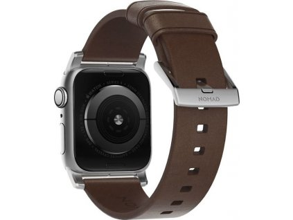 Nomad Leather Strap Brown, silver - AW 40/38 mm