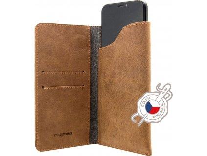 Kožené pouzdro FIXED Pocket Book pro Apple iPhone 6/6S/7/8/SE (2020), hnědé