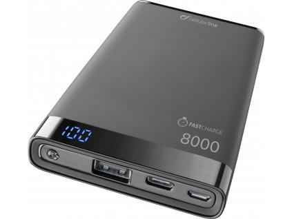 Prémiová powerbanka CellularLine FREEPOWER MANTA S, 8000mAh, USB-C + USB port, černá